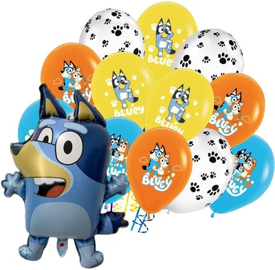 """Bundle of birthday balloons featuring characters from the show """"Bluey"""""""
