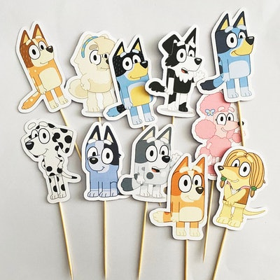 """11 cupcake toppers, each a different character from the show """"Bluey"""""""