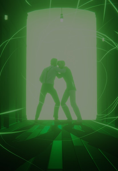 screenshot of two people in front of green portal from last stop