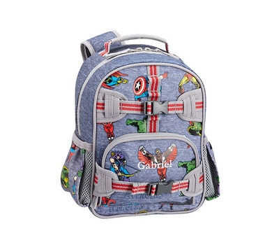 Blue backpack with cartoon Marvel Avengers characters pattern