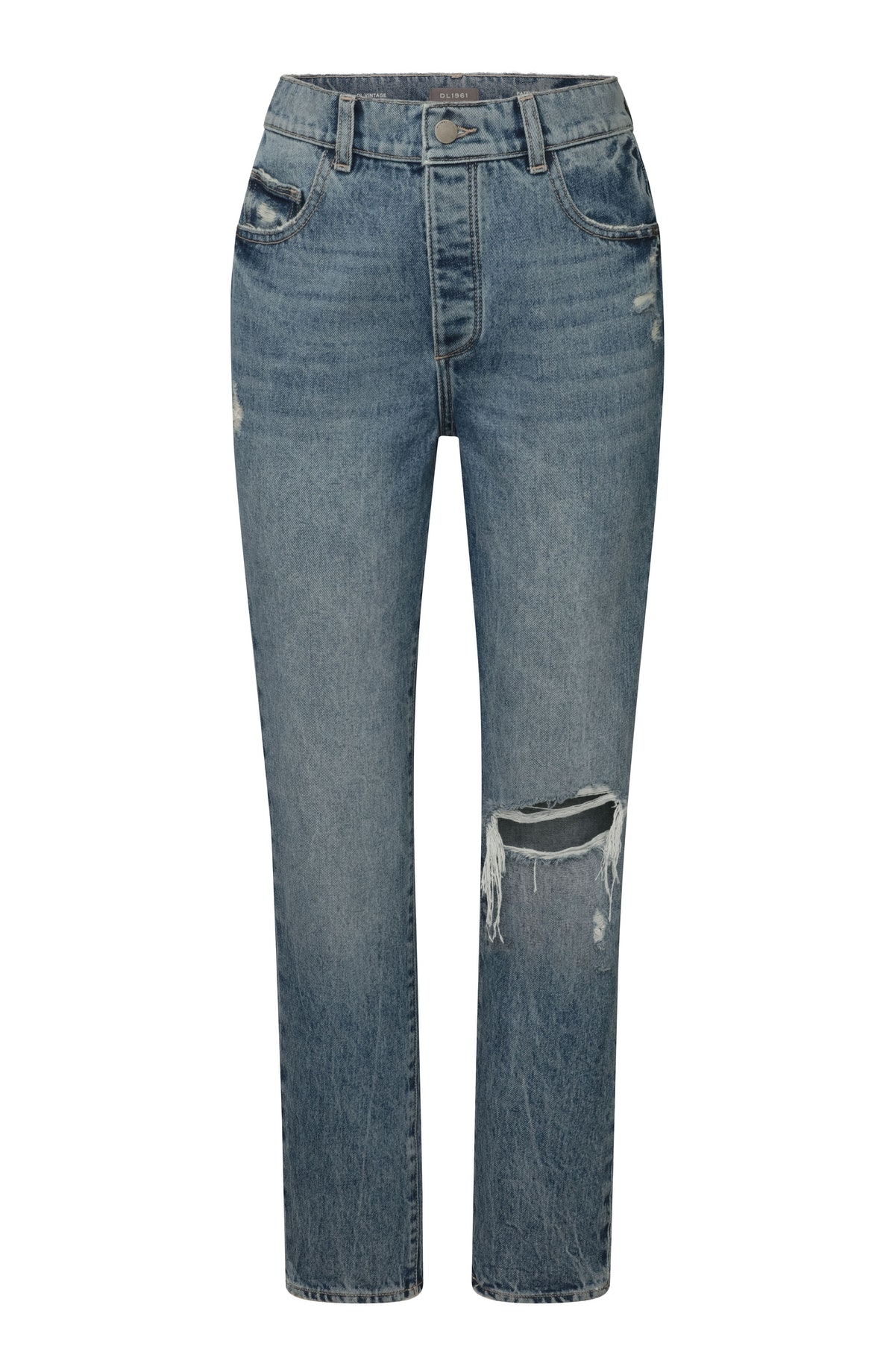 DL1961 Emilie Straight Ultra High Rise Vintage Ankle Jean, worn by Irina Shayk in the brand's Fall/W...