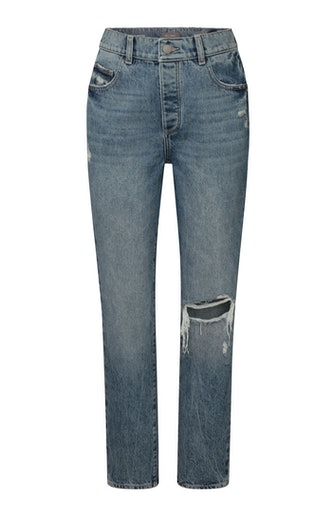 DL1961 Emilie Straight Ultra High Rise Vintage Ankle Jean, worn by Irina Shayk in the brand's Fall/Winter 2021 campaign.