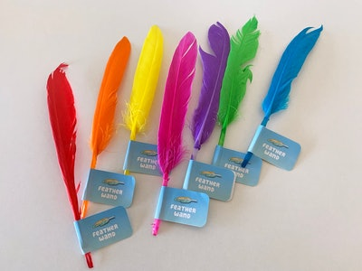 """Seven feathers in different colors with """"Bluey"""" tags that say """"featherwand"""""""