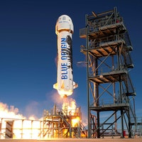 New Shepard rocket in flight reusable rocket