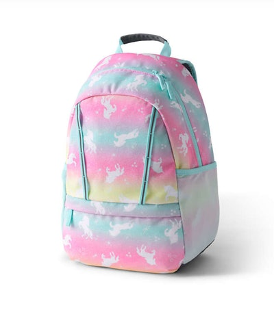Backpack with pastel rainbow colors and unicorns
