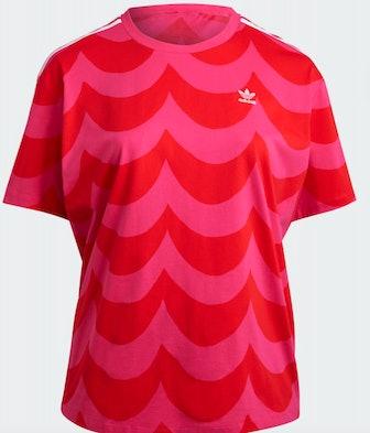 Adidas Marimekko Oversize Tee In Vivid Red