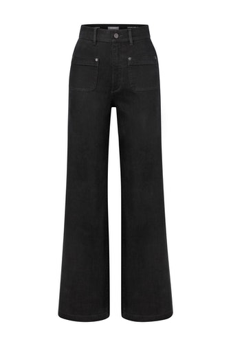 """DL1961 Hepburn Wide-Leg High Rise Vintage 31"""" Jean in Black Tide from the brand's Fall/Winter 2021 collection."""