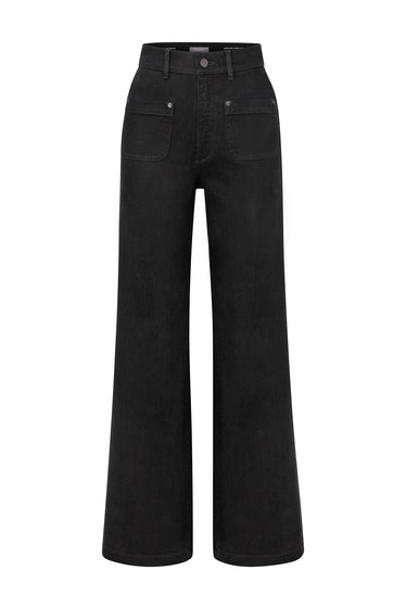 """DL1961 Hepburn Wide-Leg High Rise Vintage 31"""" Jean in Black Tide from the brand's Fall/Winter 2021 c..."""