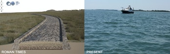 A rendering of an ancient Roman road alongside the current-day Venice Lagoon that covers it.