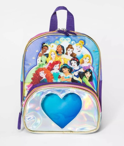 Backpack with Disney princesses and a front pocket with a big blue heart