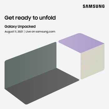 Samsung Galaxy Unpacked media invite for August 11 at 10 a.m. ET. showing Galaxy Z Fold 3 and Galaxy...