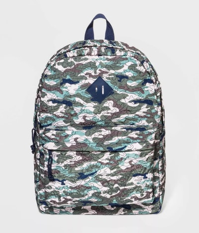 Kids backpack with green, blue, and grey camo pattern