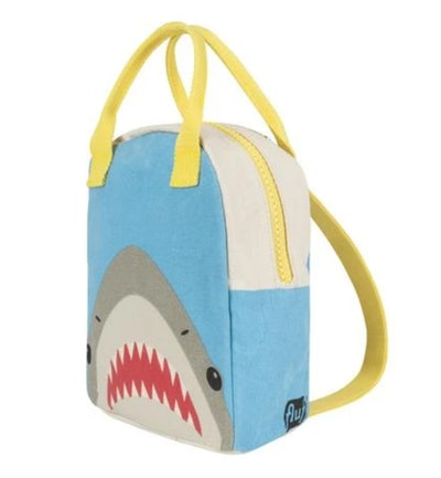 Kids backpack with shark face and colorful handles/straps