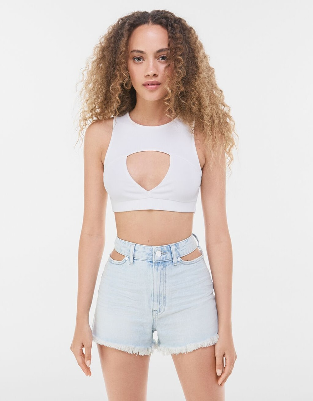 Denim shorts with cut-out detail