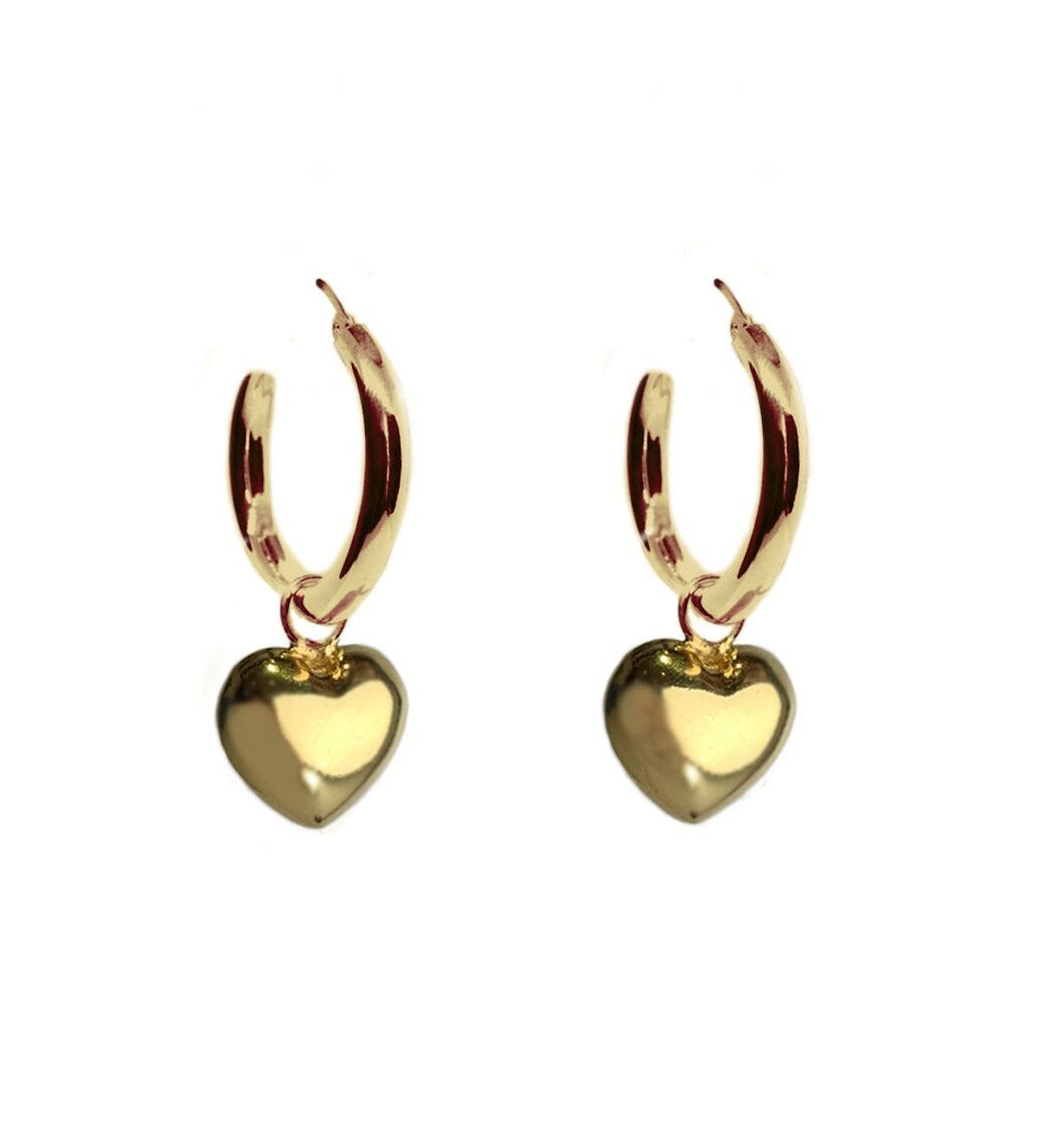 Full Heart Charm Earrings in gold vermeil from Mexican jewelry brand TUZA Jewelry