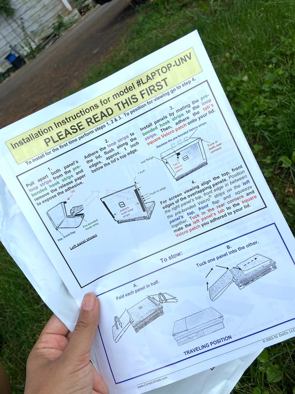 An image of instructions for installing a laptop sunshade.