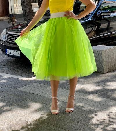 bright green tulle skirt