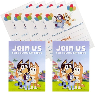 """Birthday party invites featuring characters from the show """"Bluey"""""""