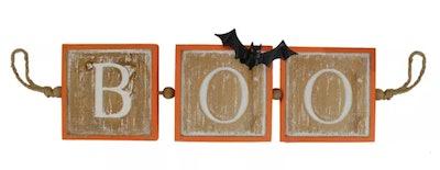"27.5"" Beige and Orange BOO Halloween Decorative Hanging Banner"