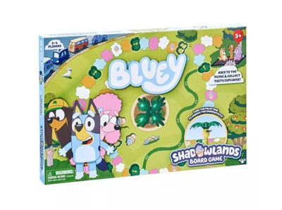 """Packaging for """"Bluey Shadowlands Board Game""""; featuring characters from """"Bluey"""""""