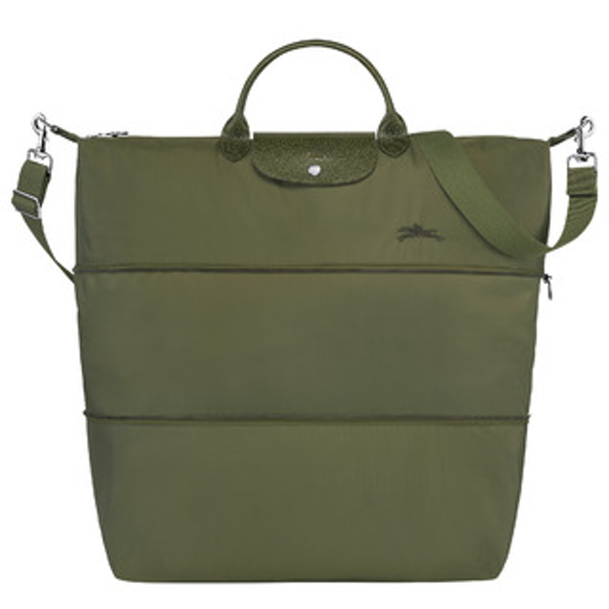 Longchamp's Le Pilage Travel Bag in forest green.