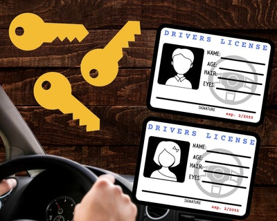 image of pretend play driver's license for kids, digital download