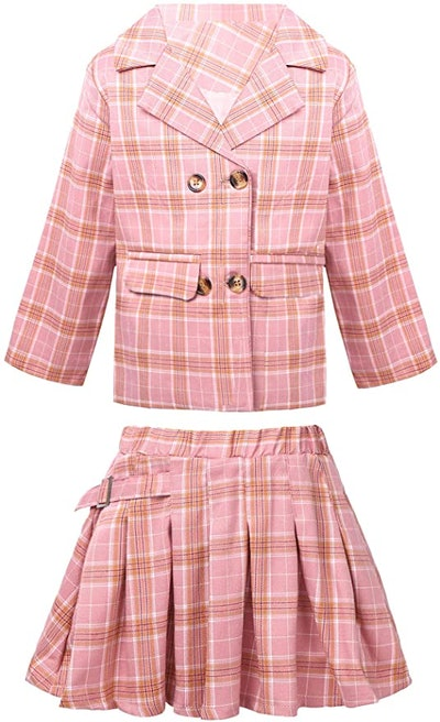 kids pink plaid skirt suit