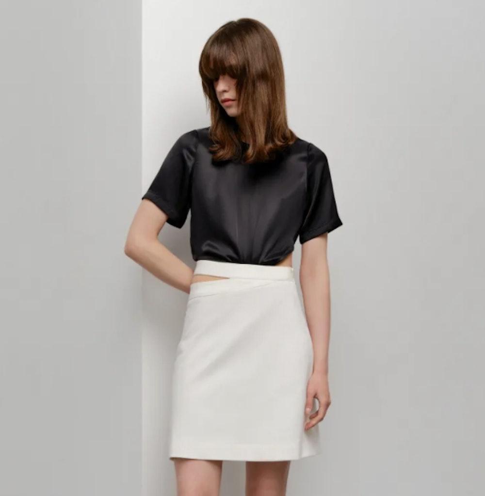Cut-Out Detail Skirt - White