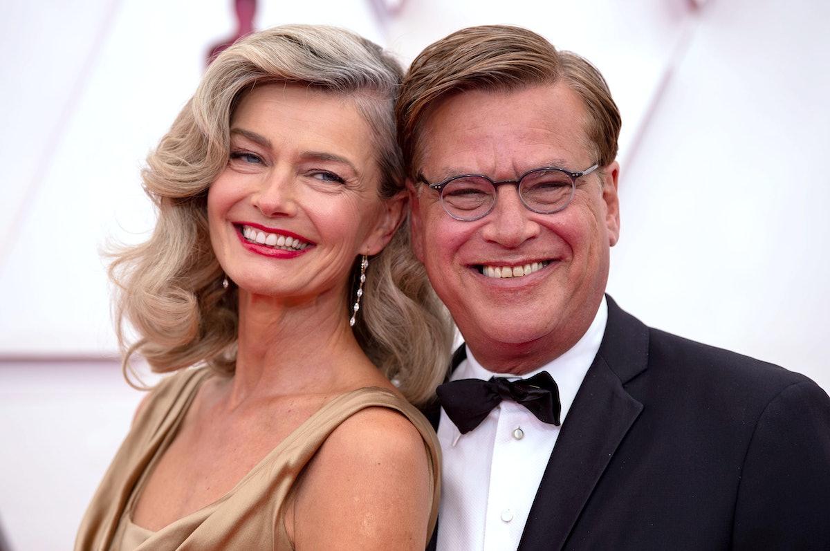 Paulina Porizkova and Aaron Sorkin at Oscars