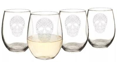 21oz Halloween Sugar Skull Stemless Wine Glasses