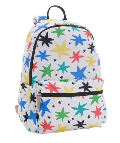 Backpack with stars in primary colors; green, yellow, red, blue