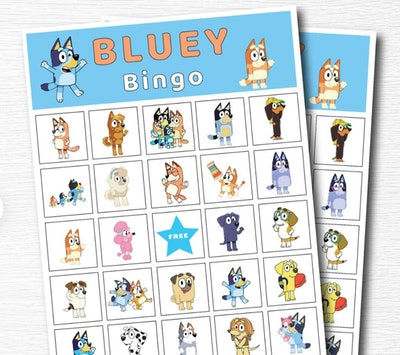 """Bingo cards featuring characters from the show """"Bluey"""""""
