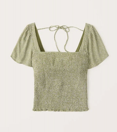 green smocked shirt with flutter sleeves and tie back from Abercrombie