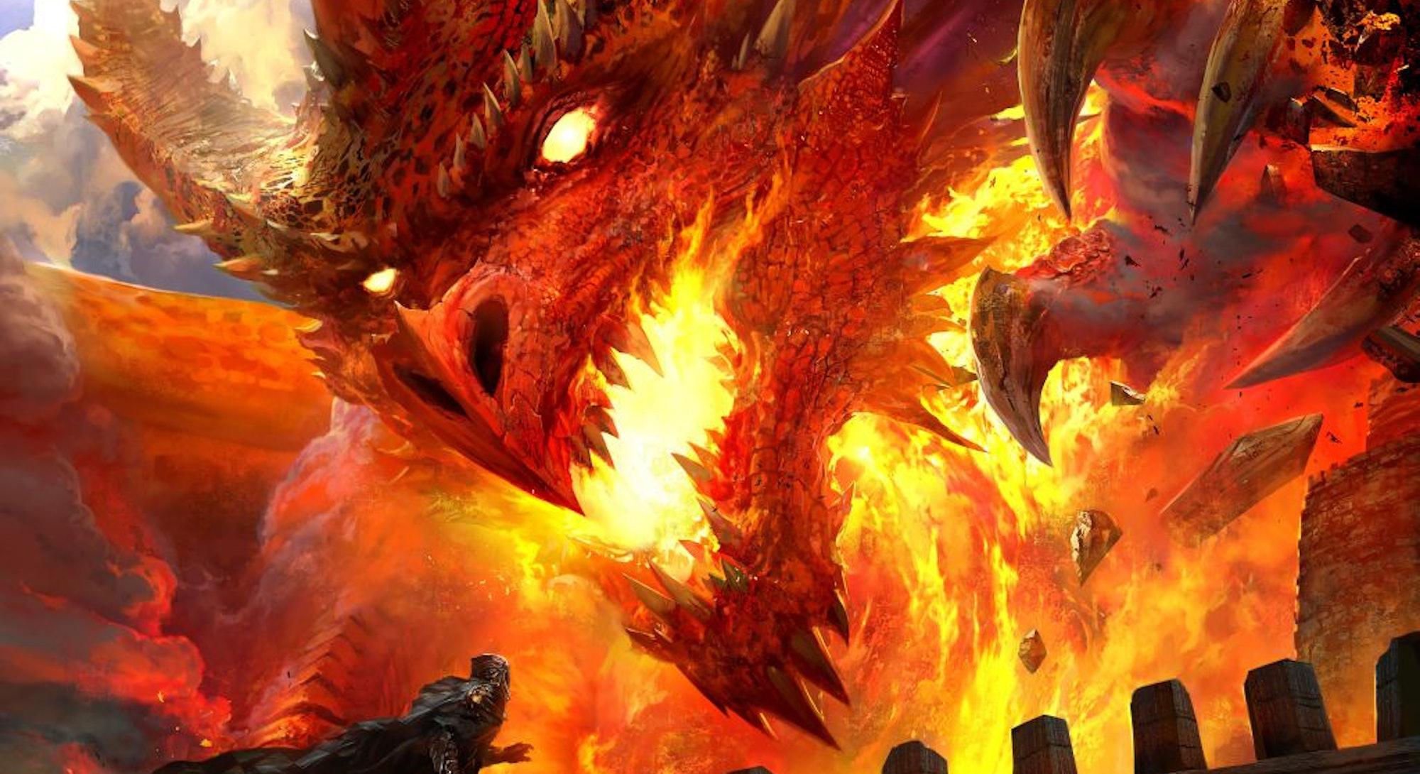 dragon fighting adventurer with sword in D&D Next art