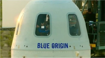 Blue Origin's capsule ahead of launch.