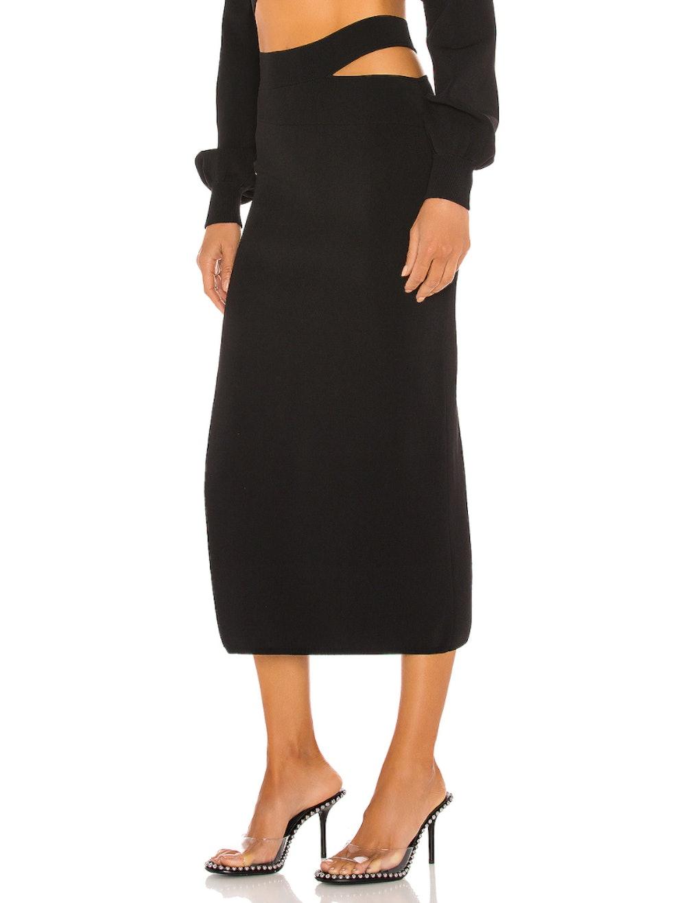 Cut Out Knit Midi Skirt