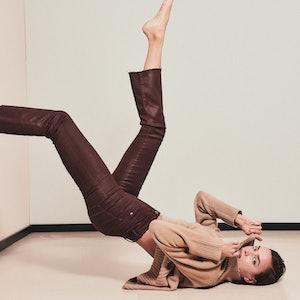 Model and street style star Irina Shayk wears DL1961 bootcut Bridget high-rise Instasculpt crop jean...