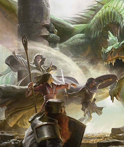 party of adventurers fighting a dragon in dungeons and dragons art