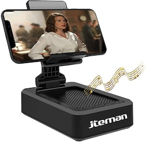 jteman Cell Phone Stand with Bluetooth Speaker
