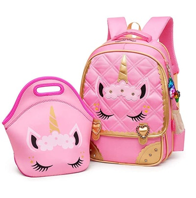 Pink lunchbox and backpack with matching unicorn face on each