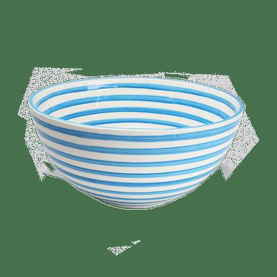 Turquoise Stripe Large Deep Bowl