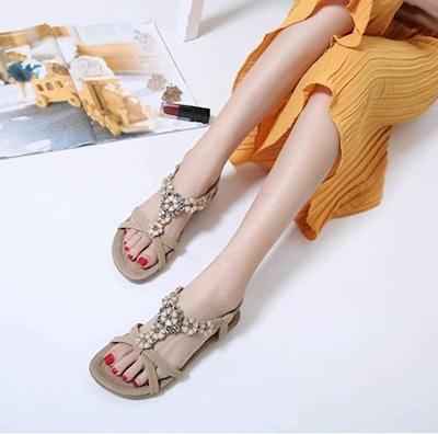 SHIBEVER Floral Sandals