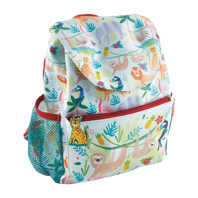 Backpack with colorful print featuring jungle animals