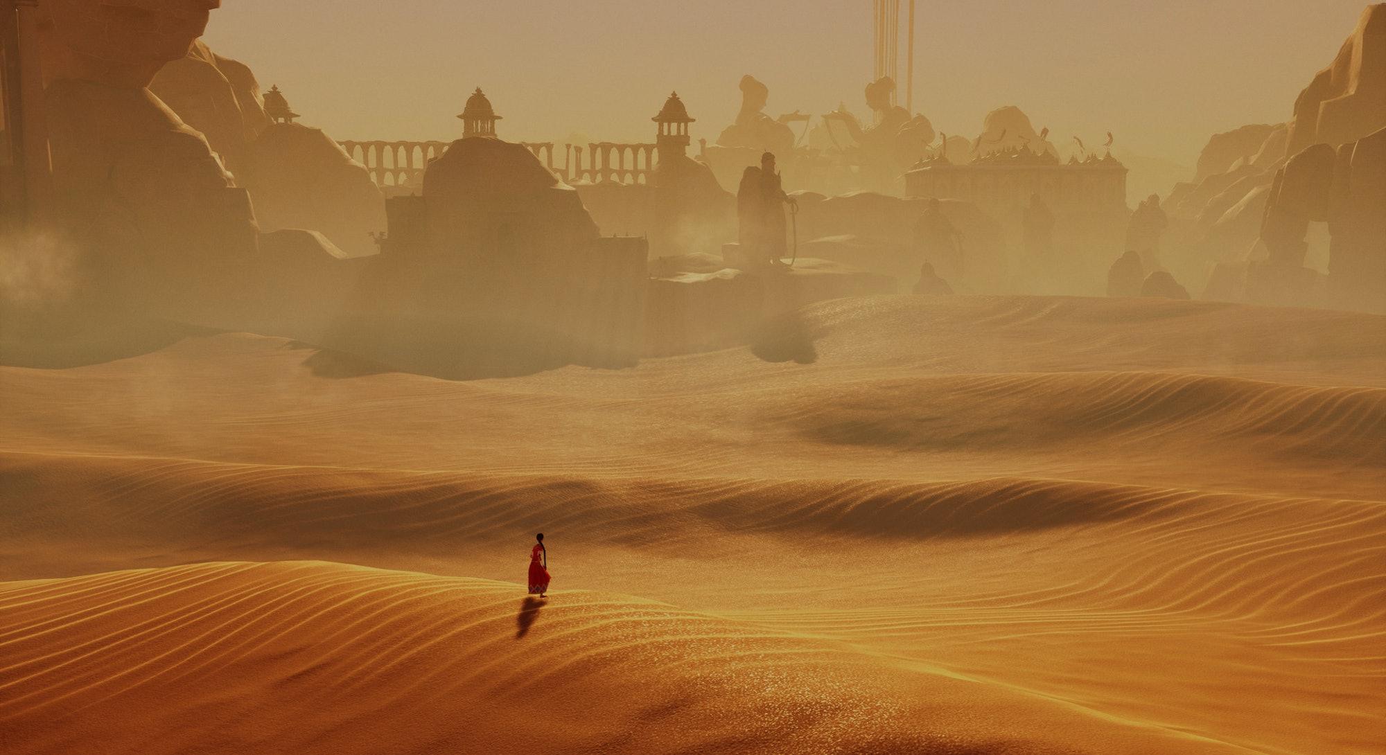 screenshot of desert and ruins from raji an ancient epic