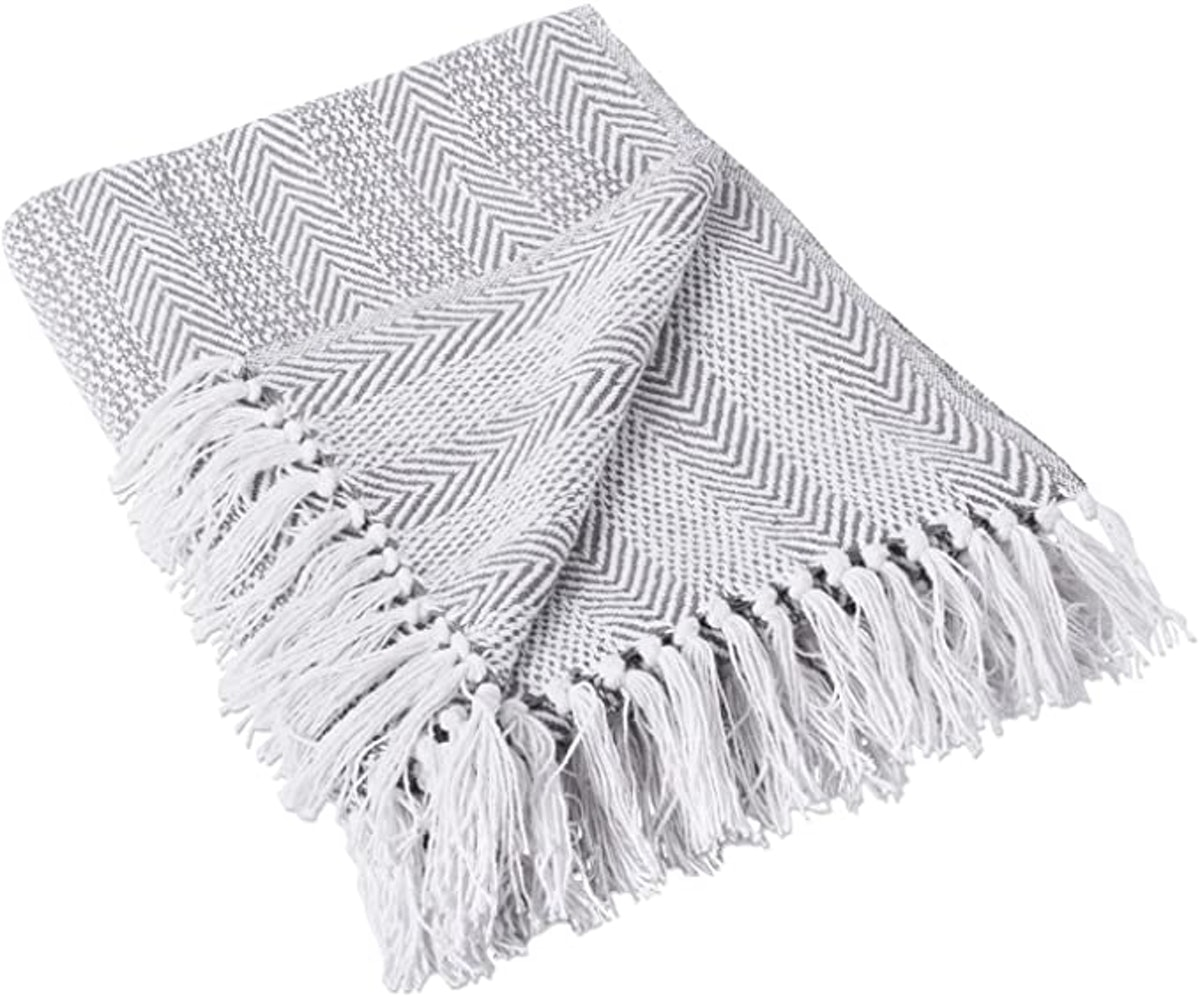 DII Herringbone Cotton Throw Blanket