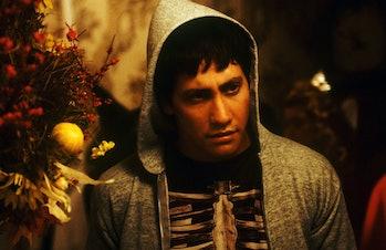 Jake Gyllenhaal wearing a skeleton costume in Donnie Darko.