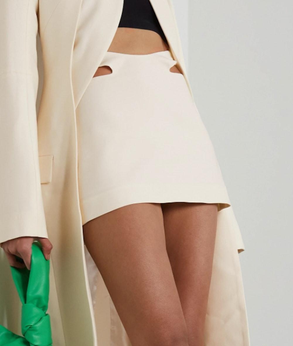 Cutout Pleated Wool Mini Skirt