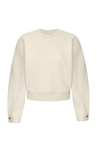 DL1961 Crop Sweatshirt in Eggshell from DL Athleisure line, launched as part of Fall/Winter 2021 Collection.