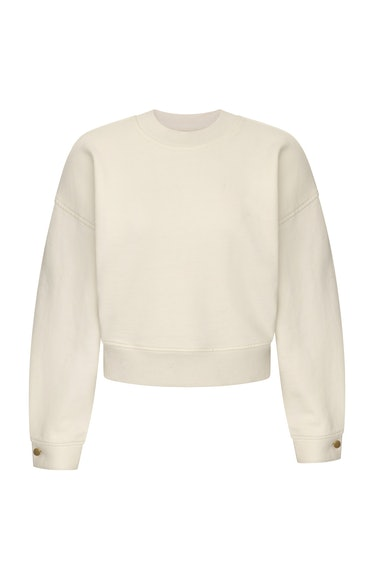 DL1961 Crop Sweatshirt in Eggshell from DL Athleisure line, launched as part of Fall/Winter 2021 Col...