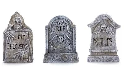 Ceramic Tabletop Tombstones for Indoor Halloween Displays - Set of 3
